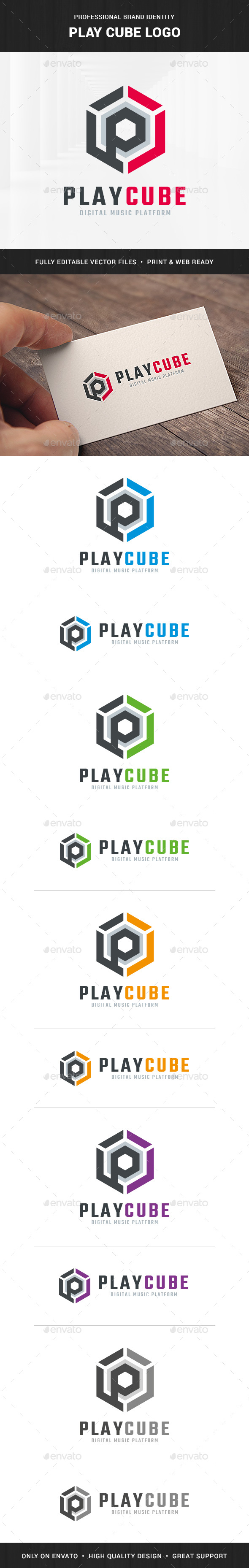 Play Cube - Letter P Logo - Letters Logo Templates