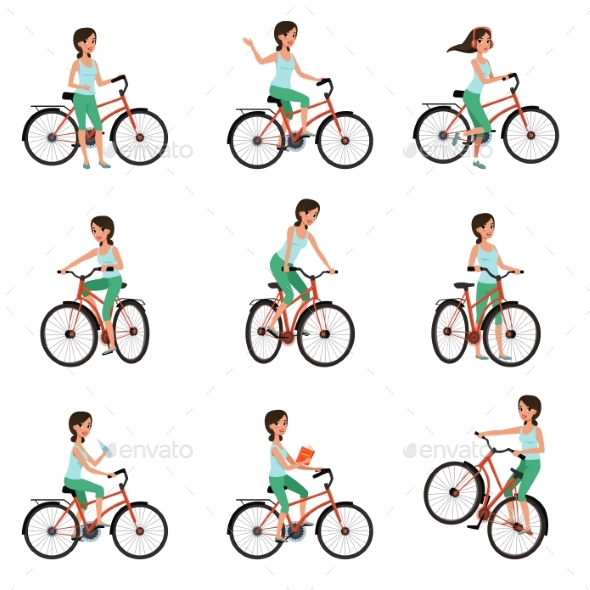 Girl Riding on Bike Set, Active Lifestyle Concept - Sports/Activity Conceptual