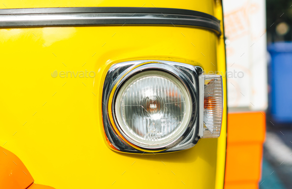 Headlight of old vehicle close up shot - Stock Photo - Images