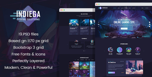 Indiega - Gaming PSD Template