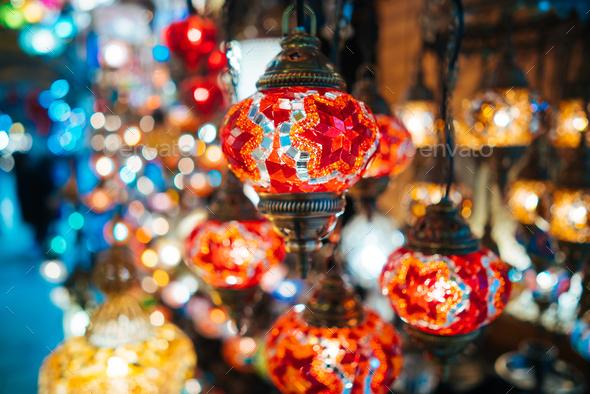 Beautiful turkish mosaic lamps - Stock Photo - Images