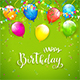 Green Birthday Background with Pennants and Balloons - GraphicRiver Item for Sale