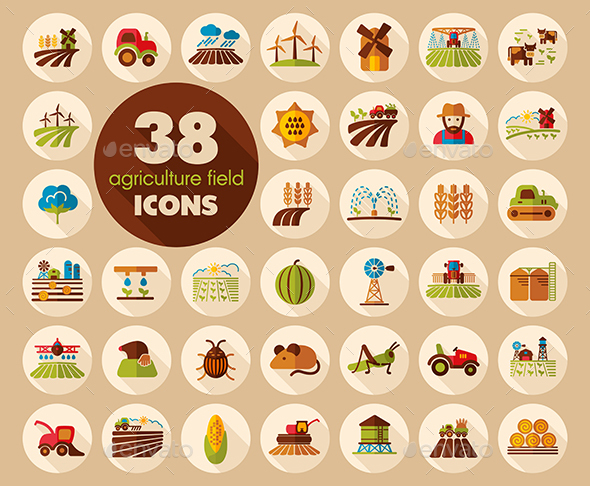 Farm Field icon. Agriculture sign - Food Objects