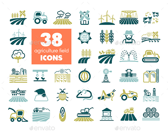 Farm Field icon. Agriculture sign - Animals Characters