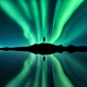 Aurora borealis, man and lake with sky reflection in water - PhotoDune Item for Sale