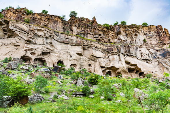 carved caves in Ihlara Valley in Cappadocia - Stock Photo - Images