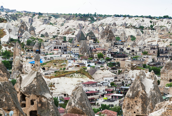 Goreme town with modern and ancient houses - Stock Photo - Images