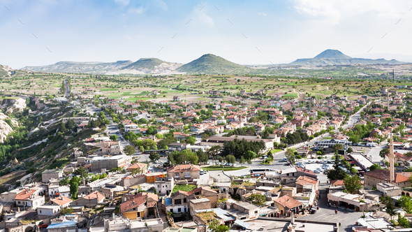 panoramic view of Uchisar village in Cappadocia - Stock Photo - Images