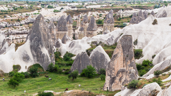 rural landscape with rock houses in Goreme - Stock Photo - Images