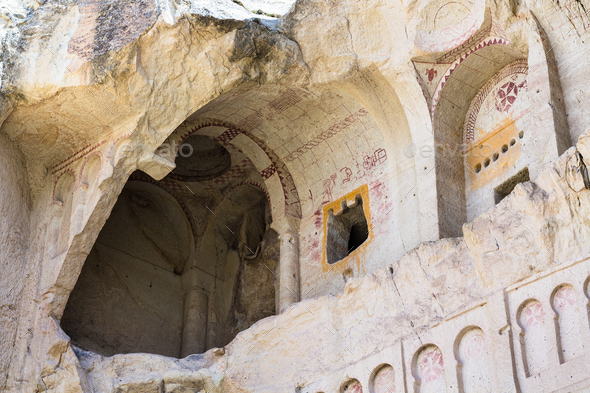 ancient Dark Church near Goreme town - Stock Photo - Images