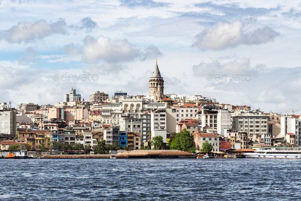 view of Galata (Karakoy) Quarter in Istanbul city - Stock Photo - Images