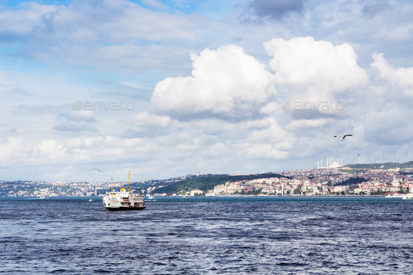 view of Golden Horn bay with bridge in Istanbul - Stock Photo - Images