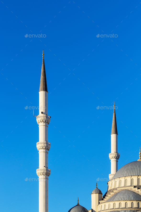 minarets and dome of Kocatepe Mosque in Ankara - Stock Photo - Images