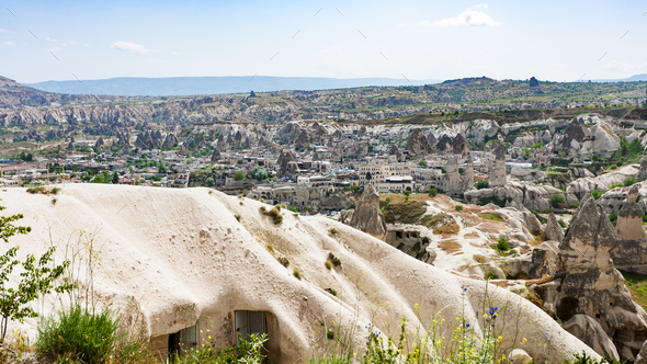 view of Goreme town from mountain in Cappadocia - Stock Photo - Images
