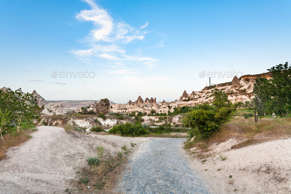 way to Goreme town from valley in Cappadocia - Stock Photo - Images