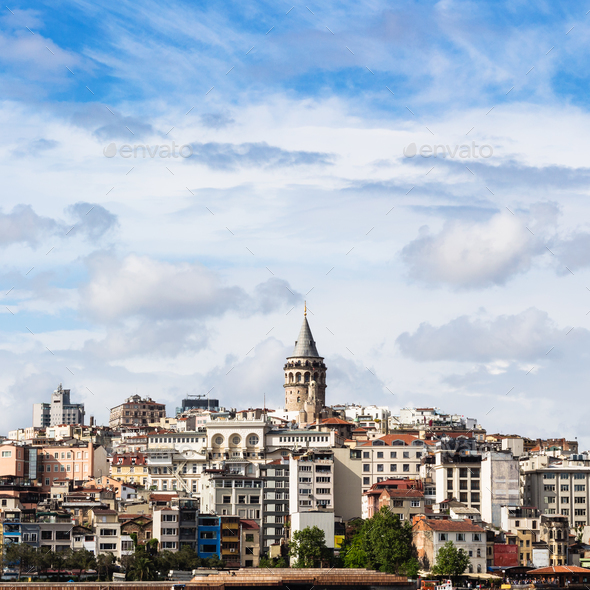 view of Galata District in Istanbul city - Stock Photo - Images