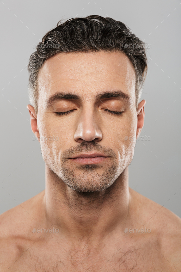 Handsome concentrated mature man. Eyes closed. - Stock Photo - Images