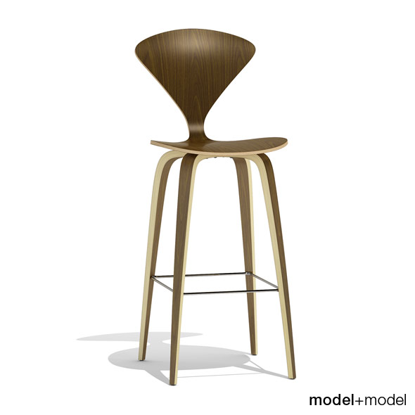 Cherner Wood base stool - 3DOcean Item for Sale
