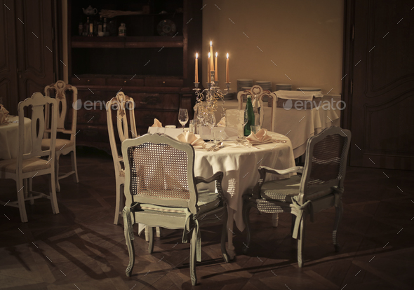 View of an elegant restaurant - Stock Photo - Images