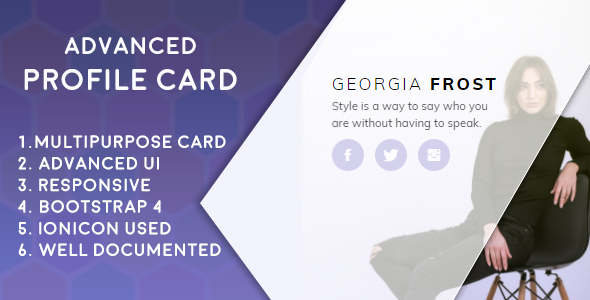 Advanced Profile Card (Bootstrap 4)            Nulled