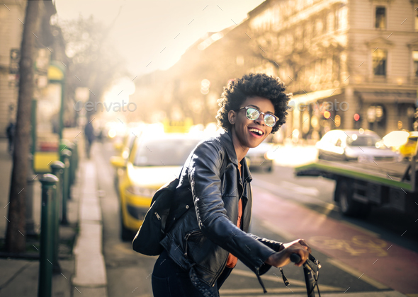 Girl in a city street - Stock Photo - Images