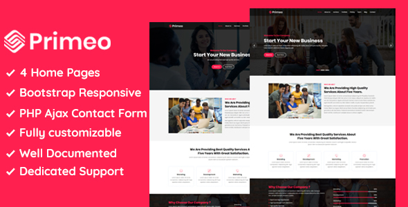 Image of Primeo - One Page Corporate and Business HTML Template