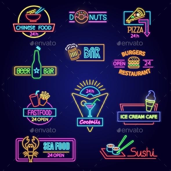 Neon Food Vector Glowing Illuminated Advertisement - Miscellaneous Vectors