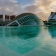 Futuristic Buildings in the Park of Turia During the Spring Sunset in Valencia - VideoHive Item for Sale