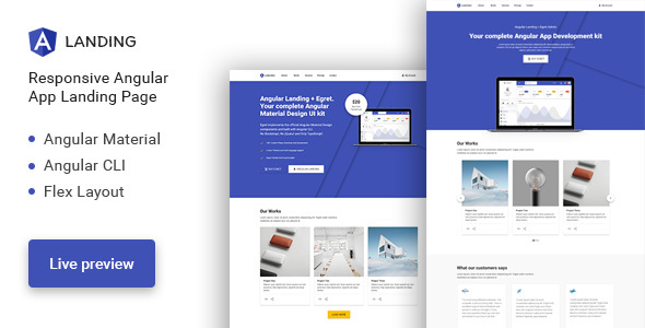 Angular Landing - Material Design Angular App Landing Page - Software Technology