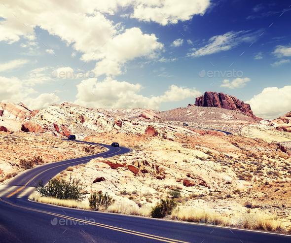 Scenic desert road, travel concept. - Stock Photo - Images