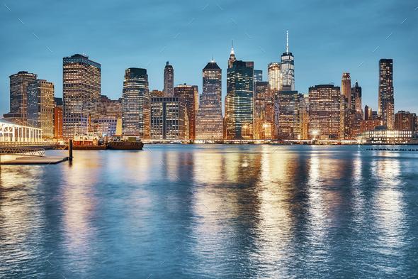 Manhattan skyline at dusk, New York. - Stock Photo - Images