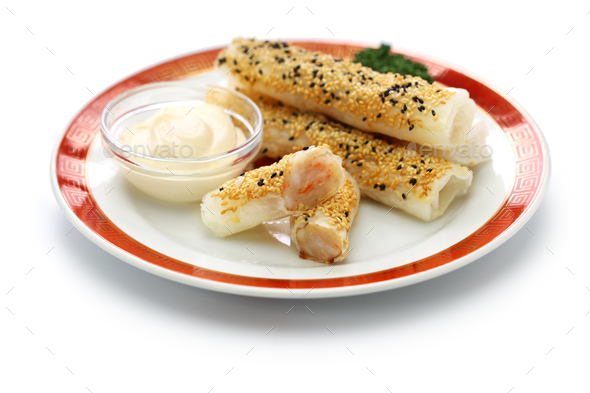 prawns wrapped in wafer paper - Stock Photo - Images