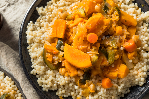Homemade Vegetarian Moroccan Couscous - Stock Photo - Images