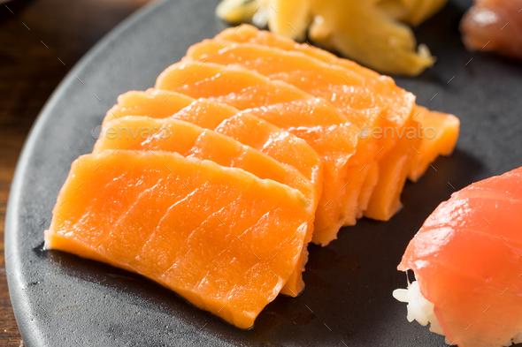 Raw Japanese Salmon Sashimi - Stock Photo - Images