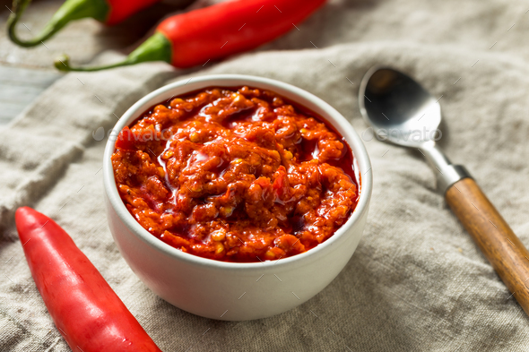 Hot Red Calabrian Pepper Sauce Spread - Stock Photo - Images