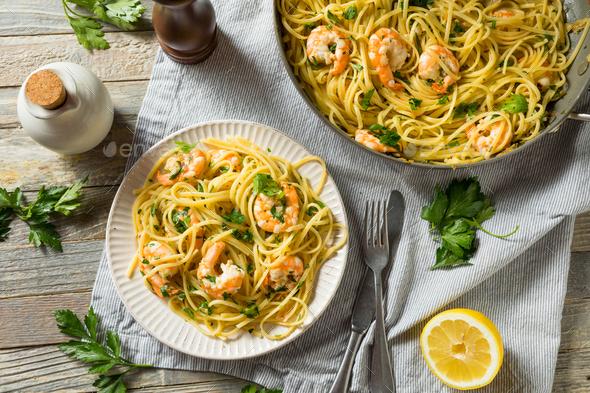 Homemade Lemon Shrimp Scampi - Stock Photo - Images