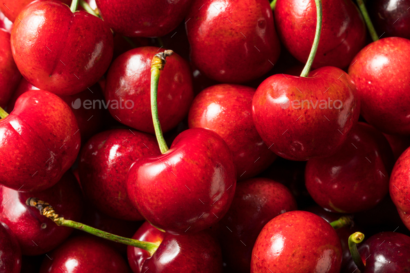 Raw Red Organic Cherries - Stock Photo - Images