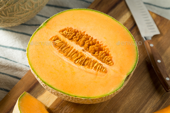 Raw Orange Organic Cantaloupe - Stock Photo - Images