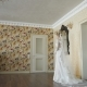 Back View of Beautiful Bride Stands in Wedding Dress with Vail in Room - VideoHive Item for Sale