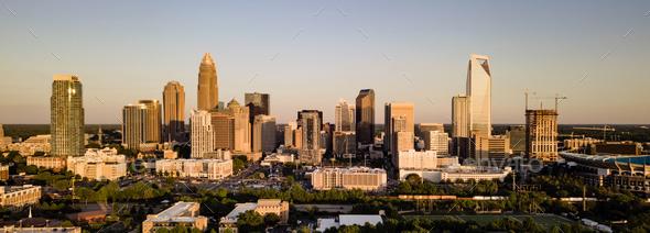 Aerial View Long Panoramic Shot of Charlotte North Carolina Downtown - Stock Photo - Images