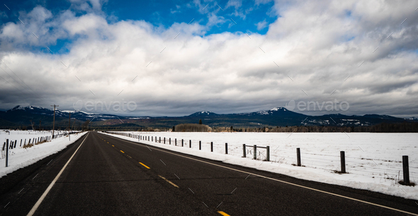 Long Panoramic Composition Open Road Two Lane Highway Winter Season - Stock Photo - Images