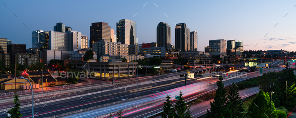 Early Morning Commuters Create Light Trails Before Rush Hour in Bellevue - Stock Photo - Images
