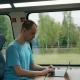 Man Working on His Laptop While Travelling By Train - VideoHive Item for Sale