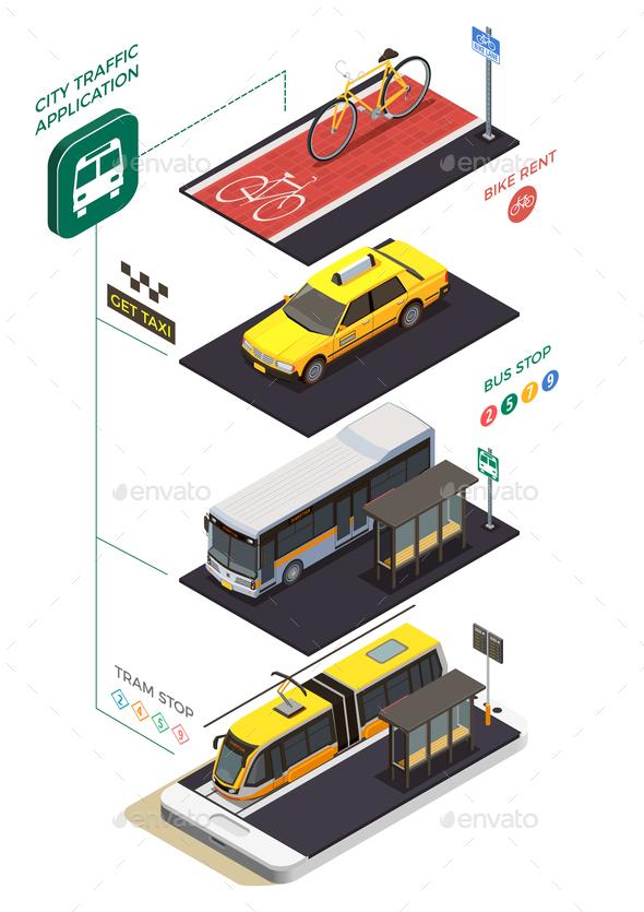 Public Transportation Isometric Concept - Miscellaneous Vectors