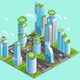 Isolated and Isometric Futuristic Skyscrapers Composition