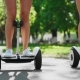 Two Girls in Short Shorts Ride the Camera and Smile at the Self-balancing Scooter in the Park - VideoHive Item for Sale