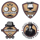 Vintage Colored Gentleman Emblems Set