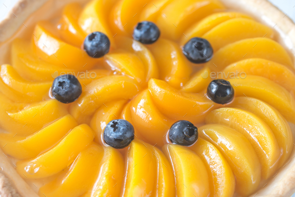 1Tart with peaches and blueberry - Stock Photo - Images