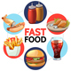 Cartoon Fast Food Round Concept