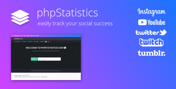 phpStatistics - Social Tracking Tool for Instagram, Twitter, Twitch & YouTube - CodeCanyon Item for Sale